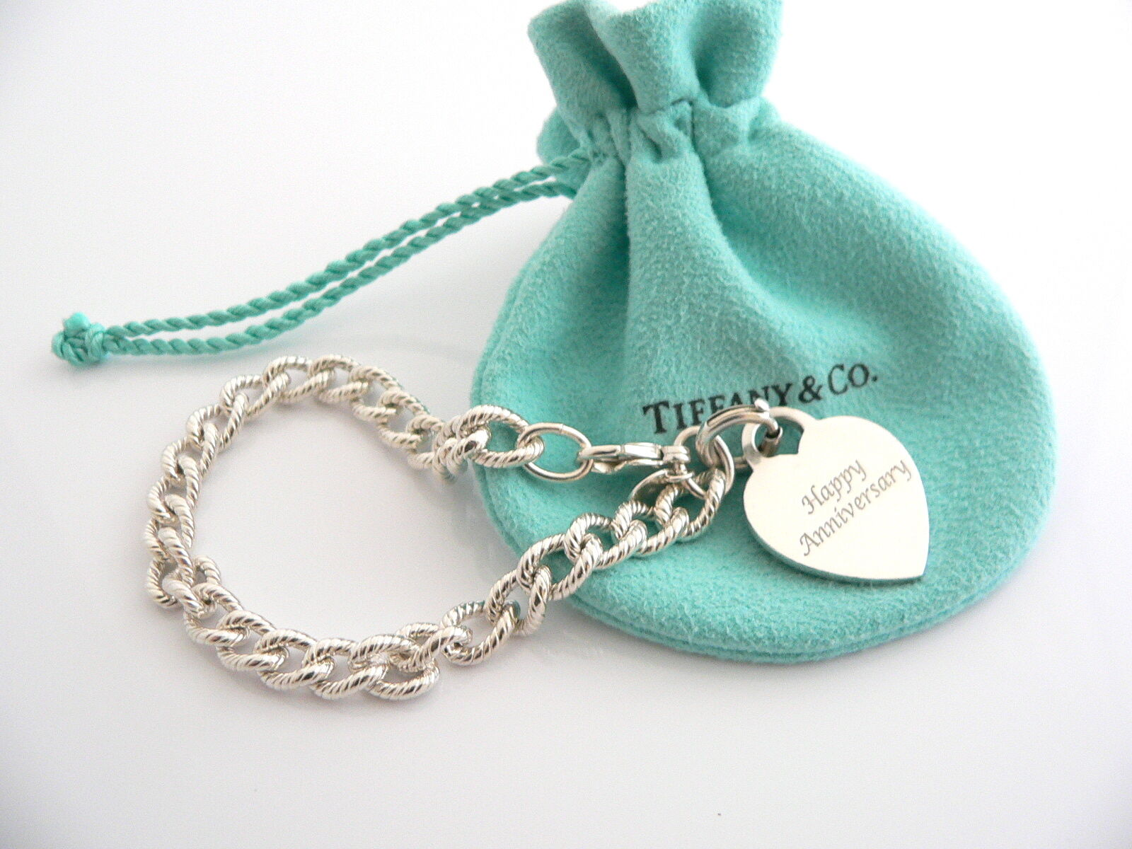 Tiffany & Co Silver HAPPY ANNIVERSARY Heart Charm Pendant Cable Bracelet Pouch