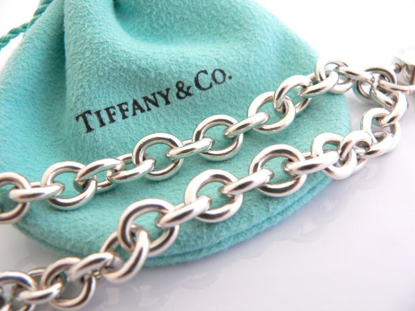 Tiffany & Co Silver Red Heart Padlock Charm Bracelet Bangle 7.75 In Rare Gift