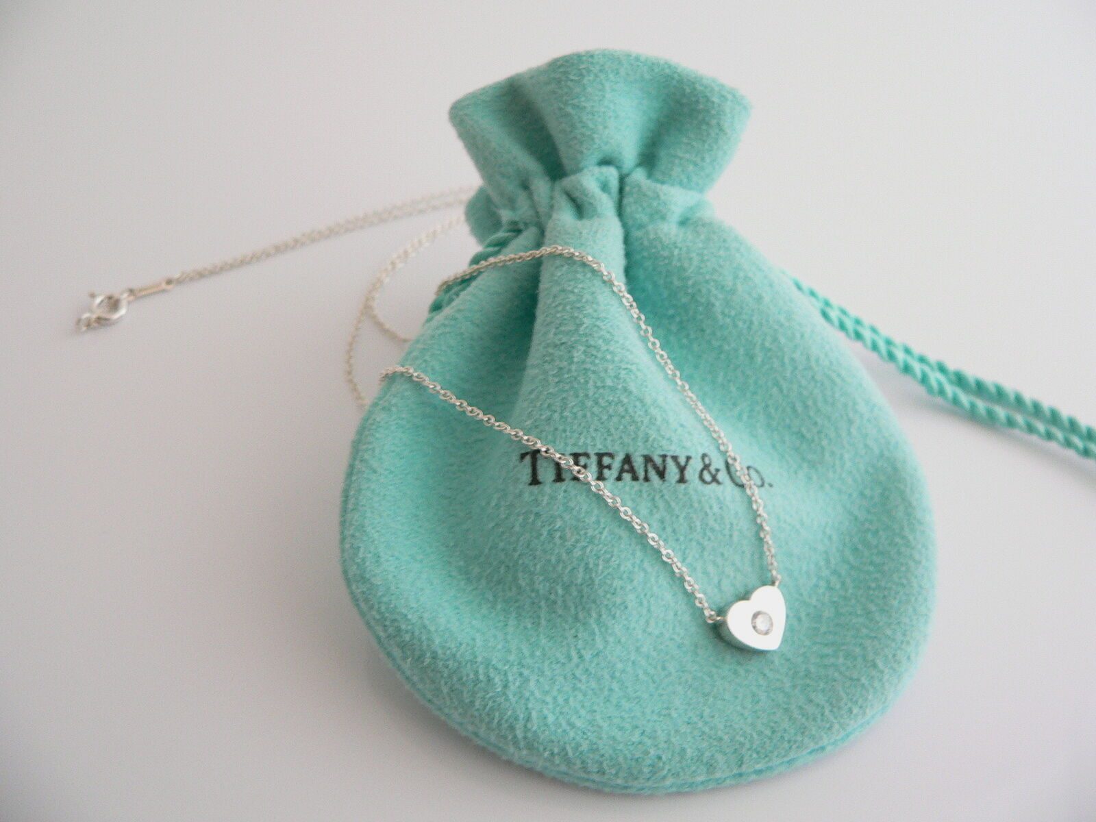 Tiffany & Co Silver Diamond Heart Necklace Pendant Charm Sparkly Gift Picasso