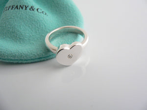 Tiffany & Co Silver Picasso Diamond Modern Heart Ring Band Sz 6 Gift Love Pouch