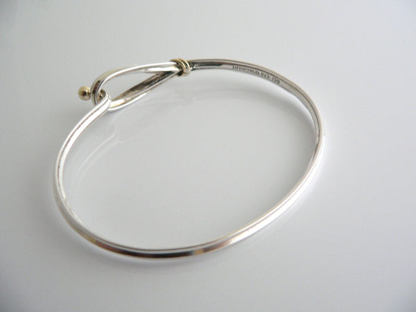 Tiffany & Co Silver 18K Gold Hook & Eye Loop Love Bangle Bracelet Rare Gift
