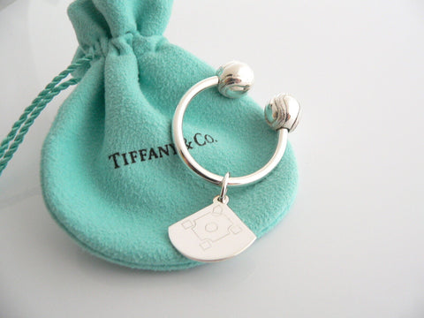 Tiffany & Co Silver Baseball Ball Diamond Key Ring Key Chain Keychain Gift Pouch