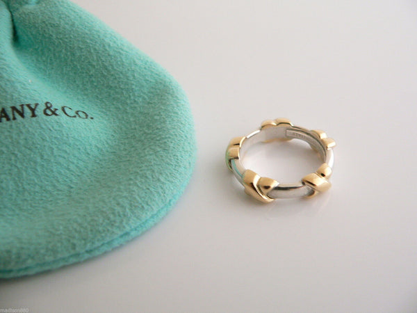 Tiffany & Co Silver 18K Gold Signature X Stacking Ring Band Sz 5.25 Gift Pouch