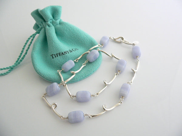 Tiffany & Co Silver Blue Chalcedony Gemstone Twirl Necklace Pendant Chain Gift