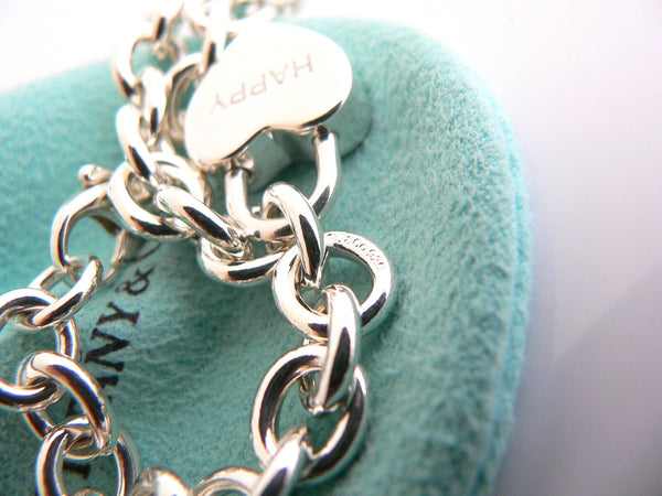 Tiffany & Co Silver HAPPY Heart Padlock Bracelet Bangle Charm Gift Pouch Love