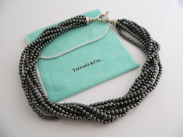 Tiffany & Co Silver Hematite Strand Toggle Clasp Chain 17 Inch Gift Pouch Love