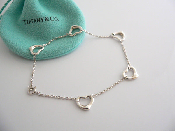 Tiffany & Co Silver Peretti 5 Open Heart Bracelet Bangle 8 Inch Longer Gift Love