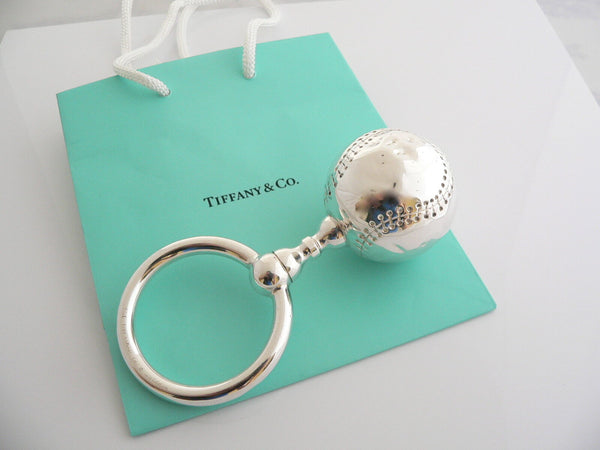 Tiffany & Co Silver Baseball Baby Rattle Teether Rare Sports Heirloom Gift Bag