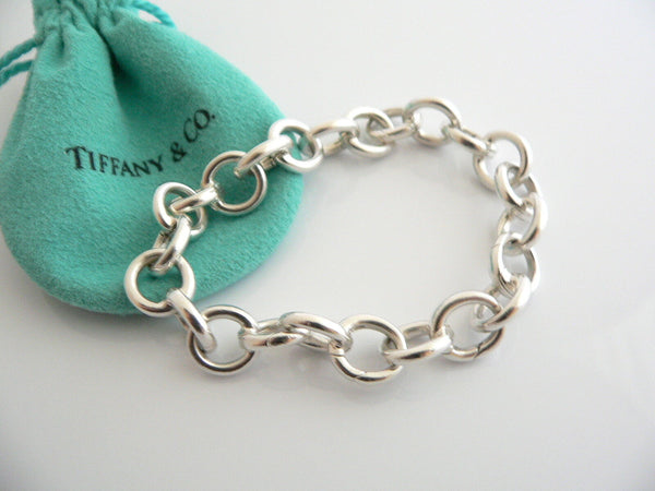 Tiffany & Co Silver Circles Link Clasp Charm Bracelet Bangle 8 Inch Gift Love