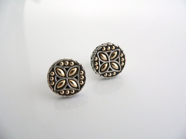 John Hardy Silver 18K Gold Textured Flower Dots Circle Round Earrings Studs Gift