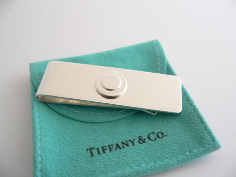 Tiffany & Co Silver Circle Engravable Money Clip Holder Rare Round Gift Pouch