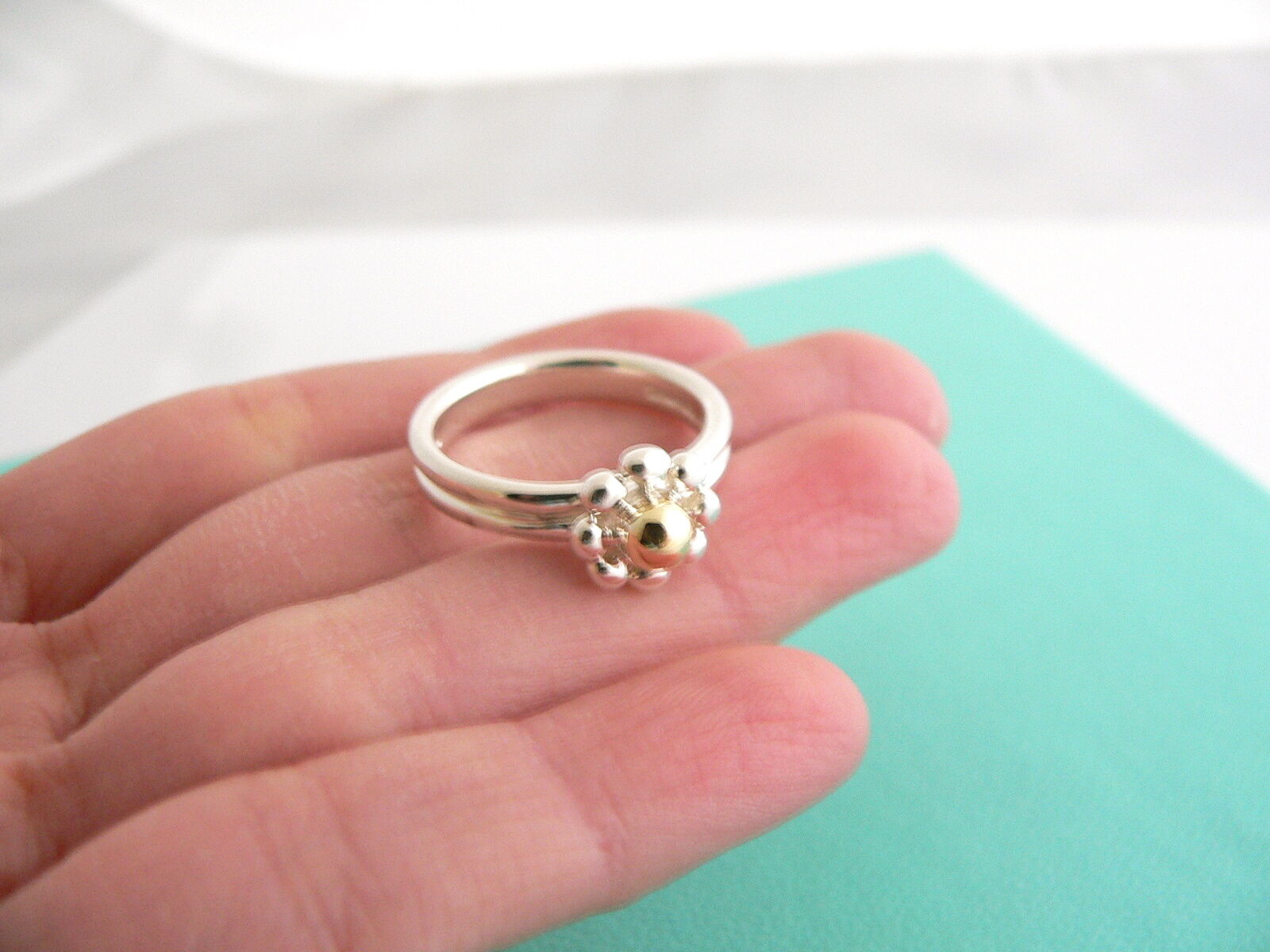 Tiffany & Co Silver 18K Gold Picasso Jolie Flower Bead RIng Band Sz 6 Gift Love