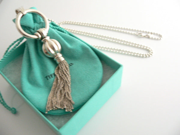 Tiffany & Co Silver Tassel Dangle Dangling Necklace Pendant 34 Inch Gift Pouch