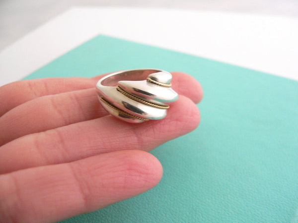 Tiffany & Co Silver 18K Gold Shrimp Twist Ring Band Sz 5.75 Rare Statement Gift