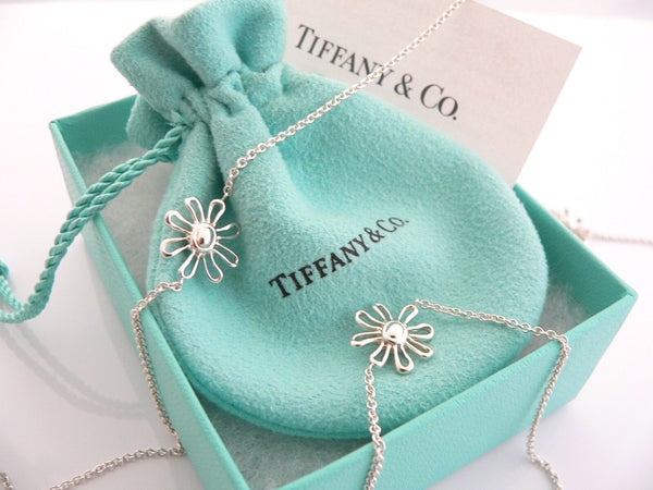 Tiffany & Co Silver Daisy 5 Five Flower Necklace Pendant Charm 27 In Chain Gift