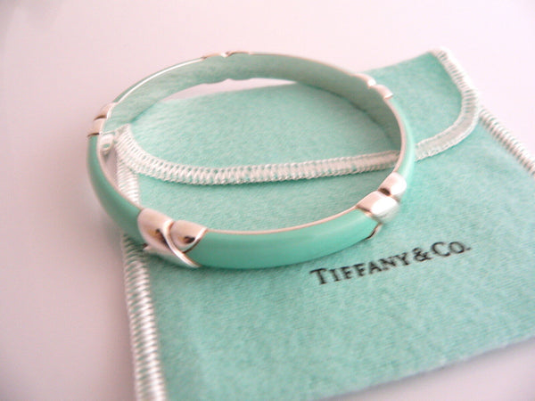 Tiffany & Co Silver Blue Enamel Signature X Bangle Bracelet Wide Gift Pouch Love