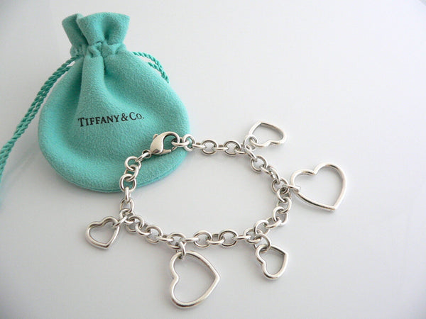 Tiffany & Co Silver 5 Hearts Dangle Bracelet Bangle Link 7.5 In Chain Gift Love
