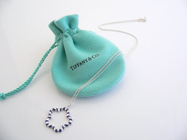 Tiffany & Co Silver Blue Flower Necklace Pendant Charm Chain Palina Gift Pouch