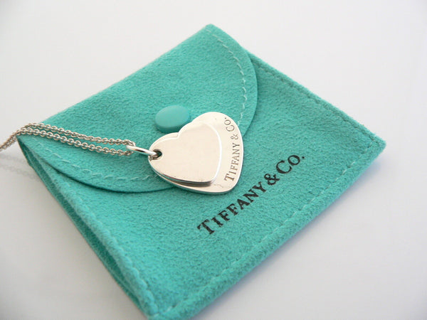 Tiffany & Co Silver Double Hearts Necklace Pendant Charm 18 Inch Gift Pouch Love