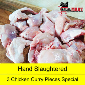 Chicken Curry Pieces - Hand Slaughtered- Pack of 3