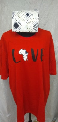 Red Love Africa T-Shirt & Headwrap - Edy's Treasures