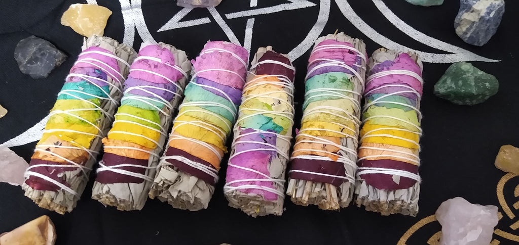 7 Chakra White Sage Rose Petal Smudging Stick - Edy's Treasures