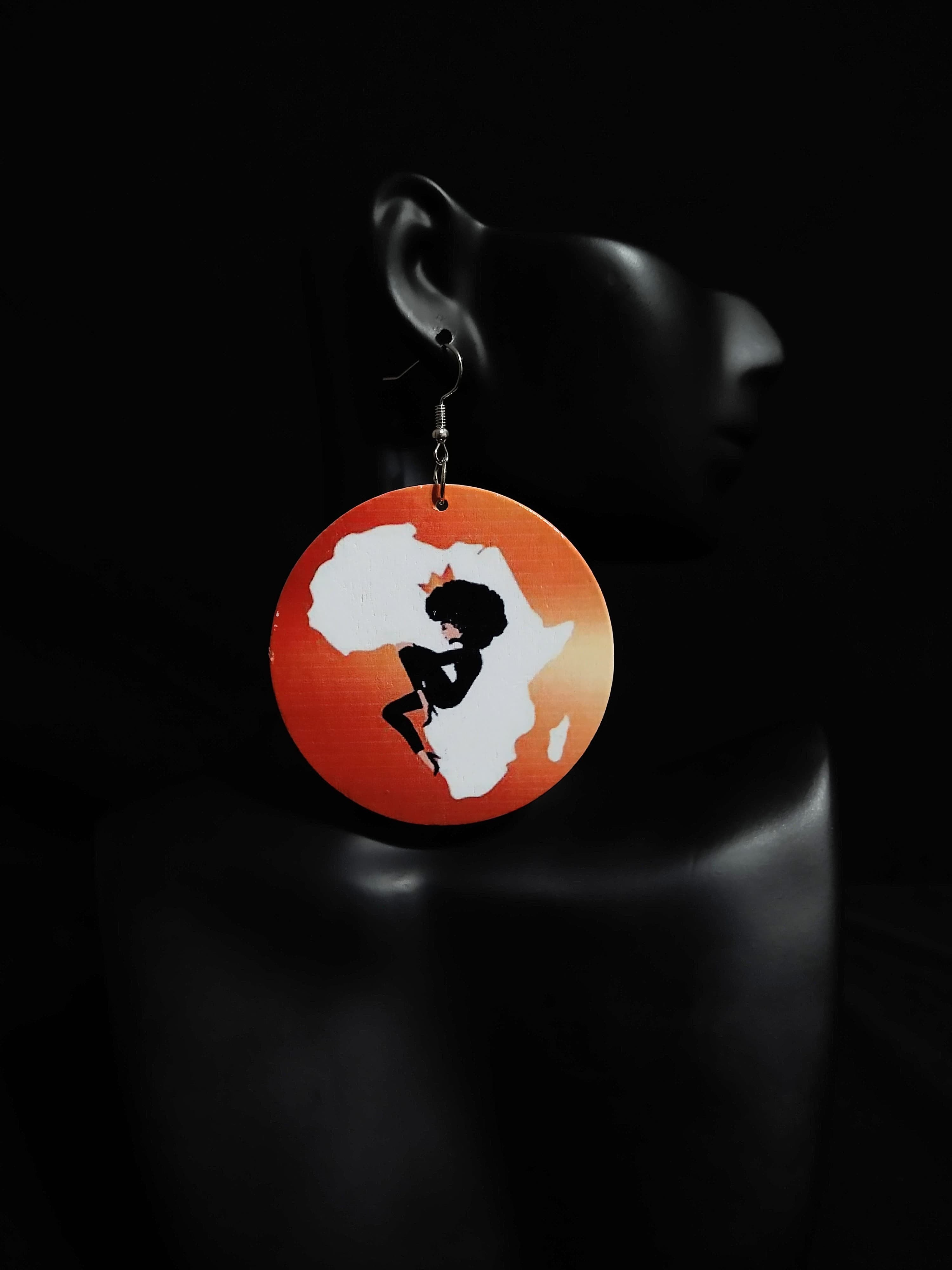 Round Wooden African Statement Earrings