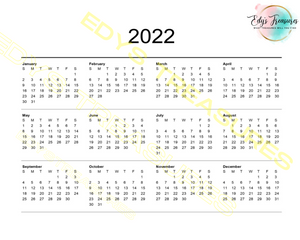2021 Positive Affirmations Calendar Printable Digital Calendar
