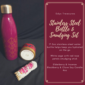 Stainless Steel Bottle & Smudging Set