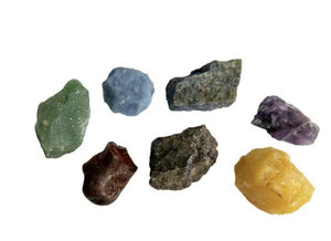 7 Chakra Rough Stones With Pouch & One 7 Chakra Sage Stick