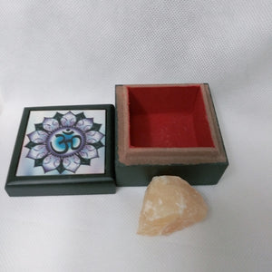 Om Velvet Bx & Orange Calcite Crystal - Edy's Treasures