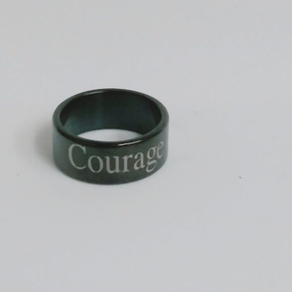 Unisex Black Courage Ring Size 6 1/2 - Edy's Treasures