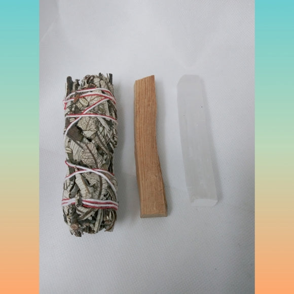 ON SALE Smudge bundle Yerba, Selenite & Palo Wood Set - Edy's Treasures