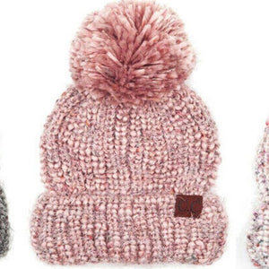 ROSE KNIT POM BEANIE HAT