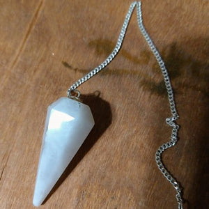 White Agate Gemstone Pendulum with Chain