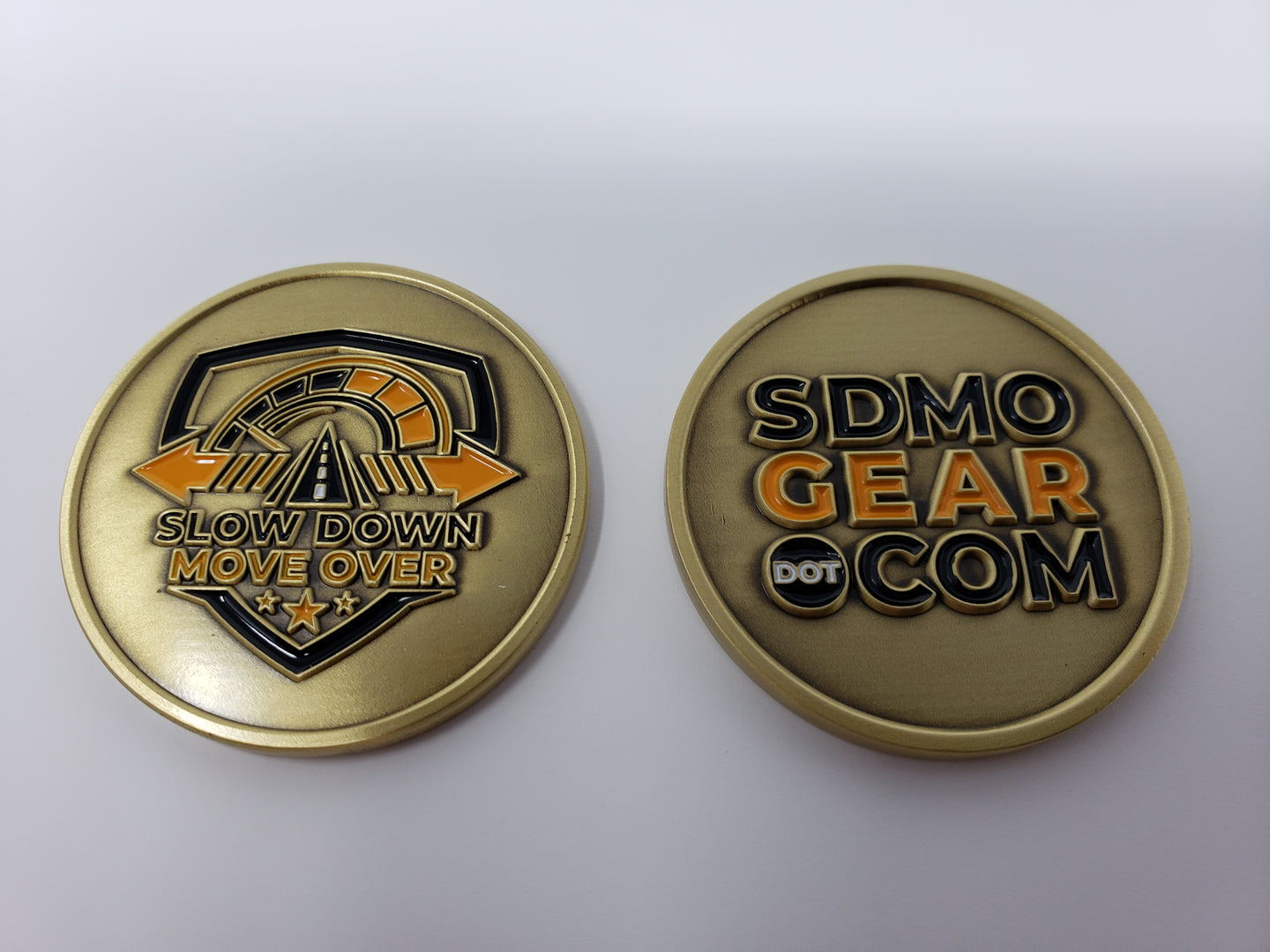 Challenge Coin - SDMO Shield & SDMO Gear - Brass