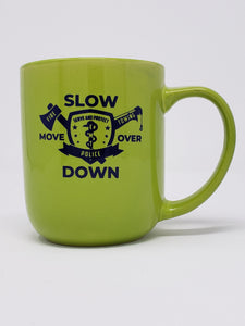 16oz Glossy Coffee Mugs - Lime Green - Mutli-Discipline Emblem Both Sides