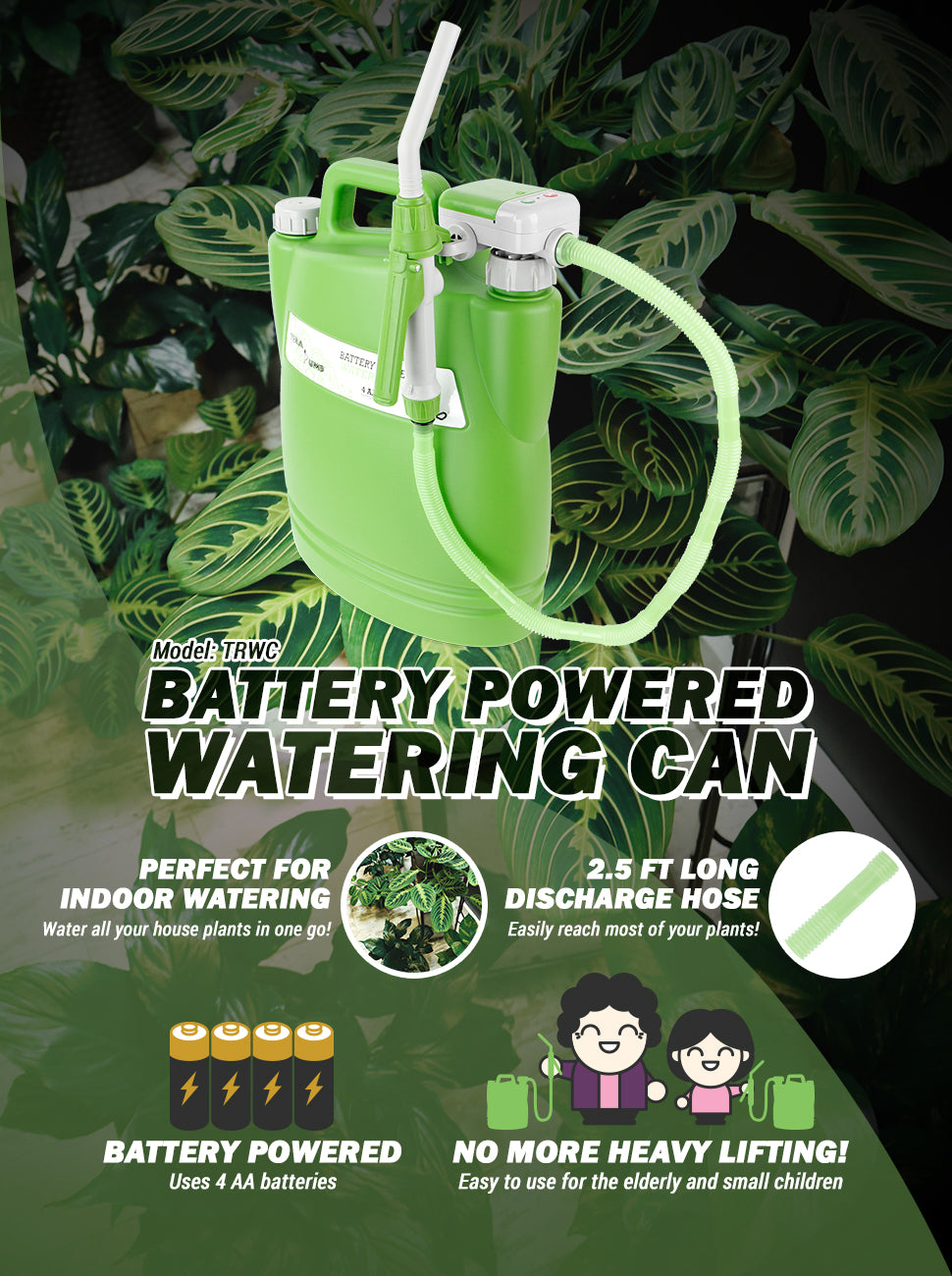 TeraPump - TRWC-S - Battery Powered Watering Can 2.5FT Hose - BRS Super Pumps
