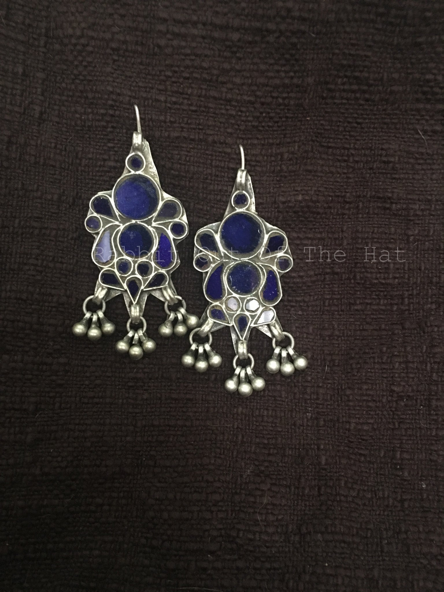 Silver Blue Glass Floral Earrings