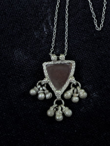 Silver Triangle Red Pendant