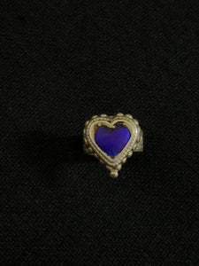 Vintage Blue Heart Silver Ring