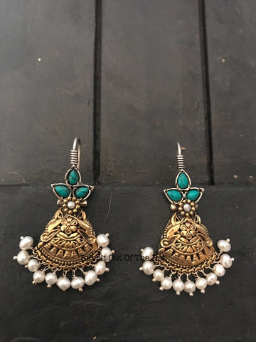 Silver Gold Polished turquoise and pearl Drop