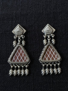 Triangle Brown Handpainted Earings