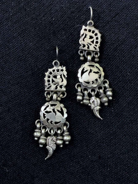 Silver Swan Cutwork Earrings