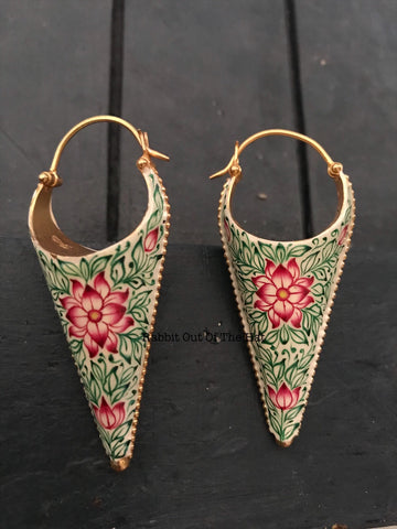 Silver Gold polished Green and Red  Enamel Cone Bali