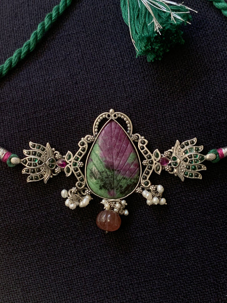 Leaf Shaped Zoisite with Lotus Choker