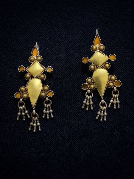 Gold With GoldenYellow Glass earrings