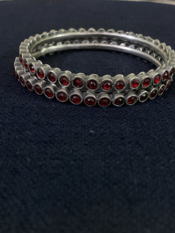 Silver with Glass Bangles