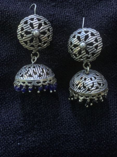 Light Weight Silver Cutwork Jhumka