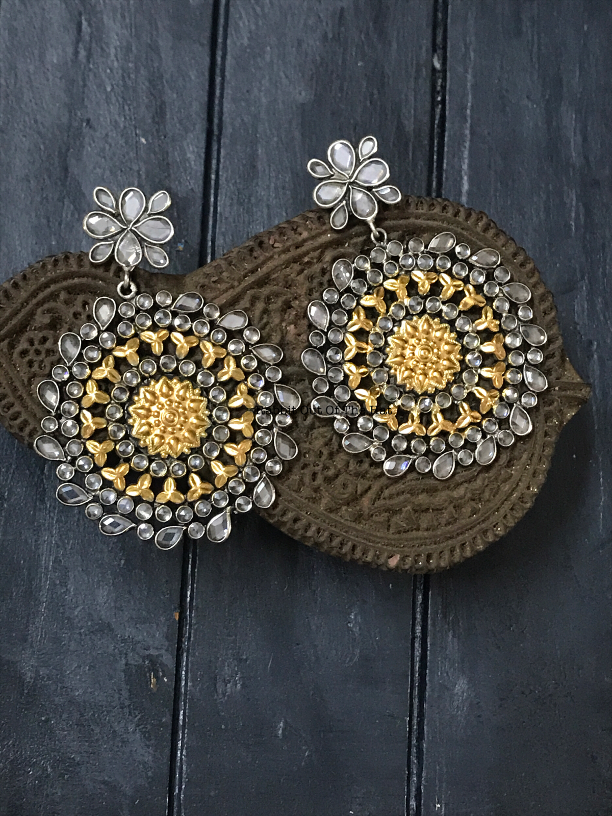 Silver and Gold Zirconia Earrings
